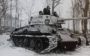 Картинка фото, танк, советский, средний, Т-34-85, Ленинград