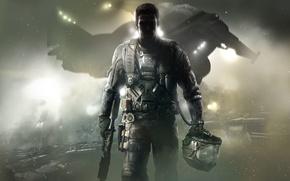 Картинка Огни, Взгляд, Дым, Свет, Шлем, Солдат, Call of Duty, CoD, Военный, Activision, Экипировка, Infinity Ward, …
