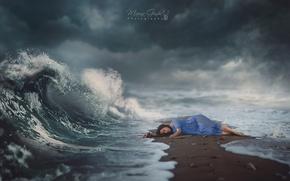 Картинка волна, волшебство, wave, магия, sea, море, sand, girl, девушка, dream, magic, небо, сон