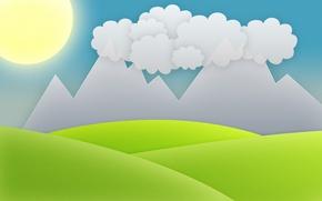 Картинка небо, трава, солнце, облака, горы