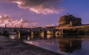 Картинка река, Рим, Италия, Тибр, мост Святого Ангела, замок Святого Ангела