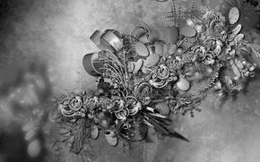 Обои цветы, черно-белое, текстура