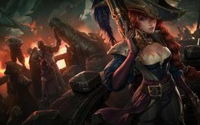 Картинка девушка, пистолет, огонь, пламя, рисунок, корабль, фэнтези, арт, капитан, коса, fire, рыжая, flame, girl, pistol, ...