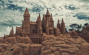 Картинка песок, облака, фон, widescreen, обои, wallpaper, широкоформатные, background, clouds, sand, полноэкранные, HD wallpapers, песочный замок, …