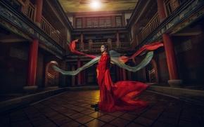 Картинка стиль, азиатка, красное платье