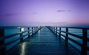 Обои утро, Германия, пирс, восход солнца, Балтийское море, Marcus Pink Photography