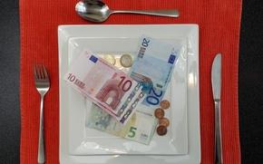 Обои деньги, приборы, обед