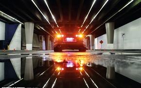 Картинка ночь, огни, отражение, улица, лужи, Toyota, вид сзади, Supra, боке, под мостом