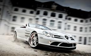 Обои Mercedes-Benz SLR Roadster McLaren, White Auto, Brabus Exclusive Sport Program