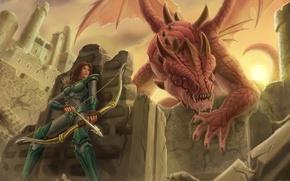 Картинка девушка, арт, крылья. крепость, доспехи. прячется. дракон, оружие. стрелы. лук