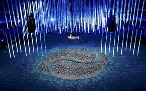 Картинка вода, свет, лодка, шоу, Россия, представление, Сочи 2014, Sochi 2014, Фишт, инь ян, Церемония закрытия …