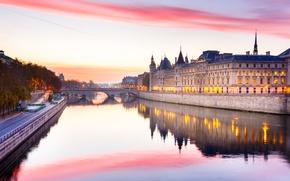 Картинка река, Франция, Париж, Сена, зарево