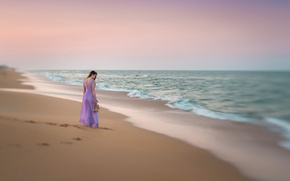 Картинка песок, пляж, девушка, платье