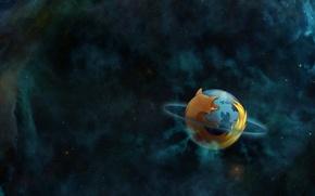 Картинка космос, туманность, планета, орбита, Mozilla, firefox, planet