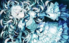 Картинка звезды, ленты, голубой, Девушка, падение, бантики, кружево, рюши, пышное платье