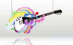 Картинка белый, круги, отражение, гитара