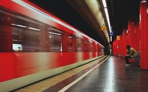 Обои уходящий поезд, станция, одиночество