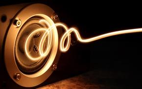 Обои энергия, мощность, energy, свечение, динамик, музыка, позитив, макро, креатив, свет, колонка, спираль, сила, good idea, ...