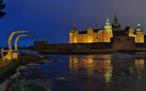 Картинка ночь, город, река, фото, замок, Швеция, Kalmar