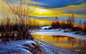 Картинка Ходюков, снег, природа, живопись, берег, кусты, птицы, вода, солнце, пейзаж, река, лёд, закат