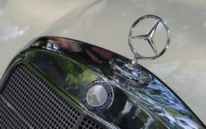 Обои значок, Mercedes-Benz, капот, бренд