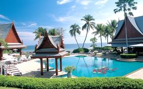 Картинка пальмы, океан, бассейн, Thailand, курорт