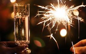 Картинка огни, вино, новый год