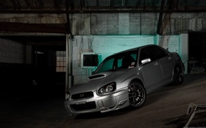 Обои гараж, наклон, Subaru Impreza WRX