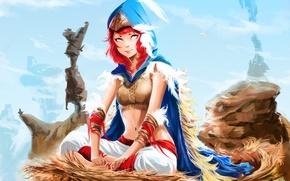 Картинка девушка, перья, арт, гнездо, капюшон