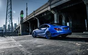 Картинка mercedes, benz, blue, rear, cl550