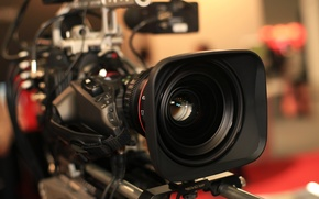 Картинка макро, огни, размытость, объектив, съемка, разноцветные, hi-tech, боке, студия, пресс, видеокамера, wallpaper., technology, профессиональная, ТВ-камера, ...