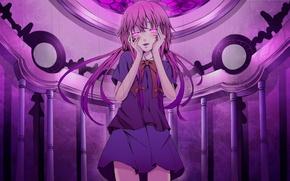 Обои девушка, аниме, арт, бантики, дневник будущего, mirai nikki, gasai yuno, reio reio