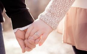 Картинка девушка, любовь, руки, кольцо, пара, мужчина