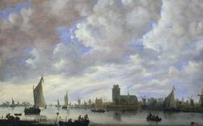 Картинка облака, лодка, картина, парус, Jeronymus van Diest II, Вид на Мерведе перед Дордрехтом