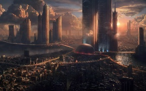 Картинка Закат, Здания, Будущие