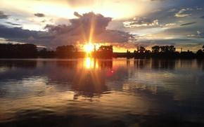 Картинка небо, вода, закат, озеро, вечер