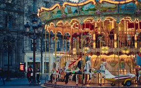 Обои Paris, France, tree, people, branches, cityscape, lamp posts, urban scene, carrousel