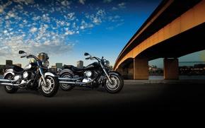 Картинка дорога, мост, мотоцикл