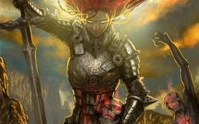 Картинка оружие, фантастика, ангел, меч, доспехи, арт, броня, демоны, красные волосы