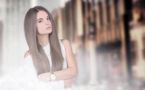 Картинка Girl, White, View, Photography, Hair, Dress, Prime