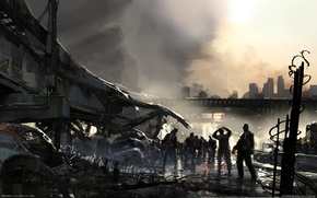 Обои автомобили, мост, дорога, мертвецы, город, зомби, метро, left 4 dead