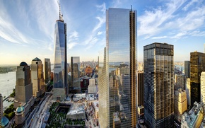 Картинка небо, облака, город, здания, дома, Нью-Йорк, небоскребы, панорама, USA, США, Манхэттен, New York, Manhattan, NYC, ...