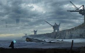 Картинка песок, море, вода, облака, фантастика, берег, человек, планета, кран, чужие, alien, fan art, weyland yutani