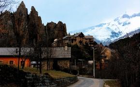 Обои горы, Франция, дорога, дома, Peone, улица, скалы, осень