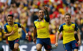 Картинка фон, победа, Арсенал, Arsenal, Football Club, канониры, The Gunners, футбольный клуб, Theo Walcott, Тео Уолкотт, …