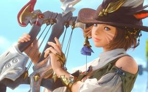 Картинка шляпа, перья, арфа, Final Fantasy, бард, кошачьи глаза, девушка, A Realm Reborn, XIV, уши, раскраска