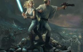 Картинка Star Wars, Звёздные войны, фан-арт, Stormtroopers, Lucy Skywalker, Prince Leio, Guilano Brocani