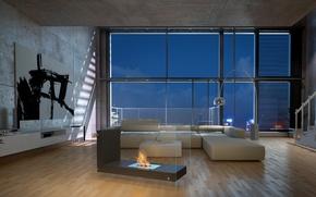 Картинка дизайн, стиль, комната, интерьер, гостиная, Loft, лофт, Bio Fireplace in Living Room, L-Shape