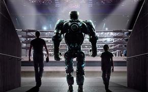 Картинка кино, фильм, робот, актёры, ринг, Hugh Jackman, Хью Джекман, трибуны, Живая сталь, Real Steel