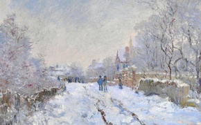 Картинка Клод Моне, картина, Снежная Сцена в Аржантёе, пейзаж, зима